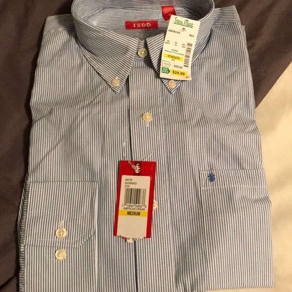 Izod Other - Blue and white stripped button up
